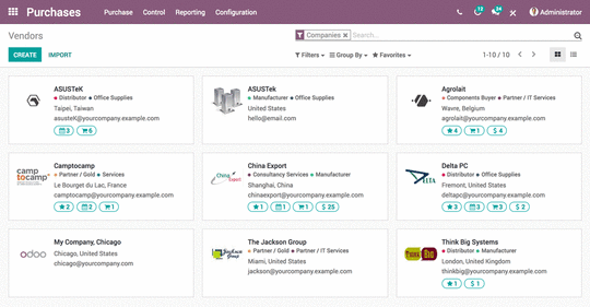 Purchasing integrated into Odoo ERP